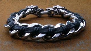 Чоловічі браслети Twin-Dragon із сталі і шкіри для любителів роско
