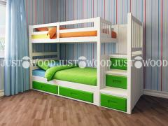 Двох'ярусне ліжко Шериф +з натурального дерева